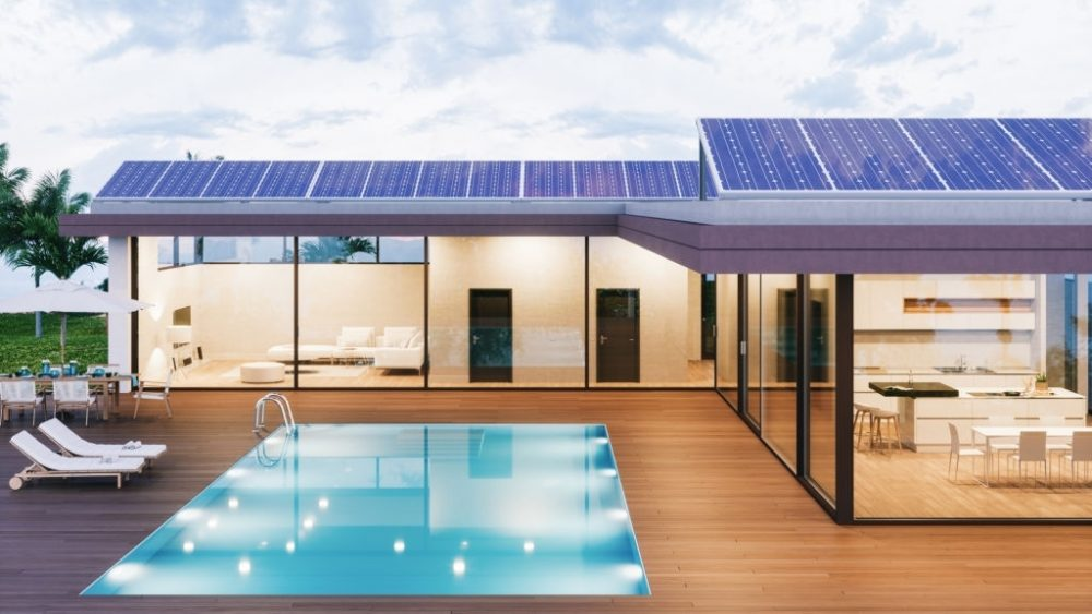 Solar panels on roof of a luxury house.